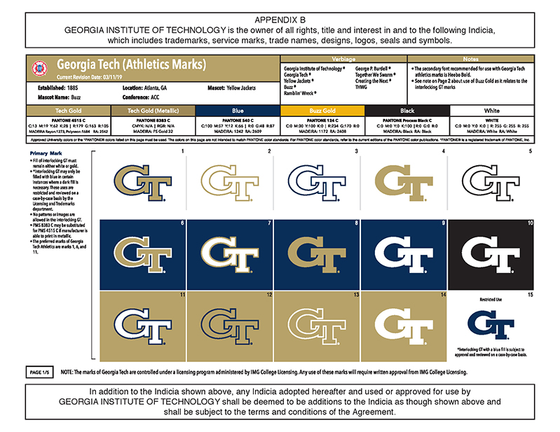 Georgia Tech Logo Sheet