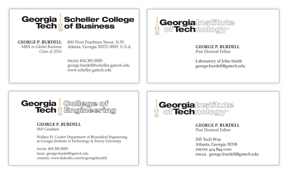 Student business card examples